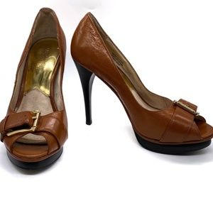 Michael Michael Kors Brown Peep Toe Platform Heels